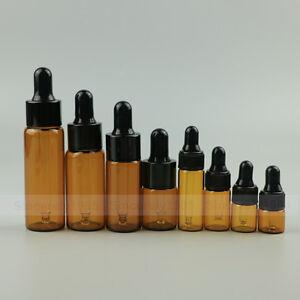 Set 4pcs 8pcs Amber Empty Glass Dropper Pipette Bottles Vials Eye Essential oils