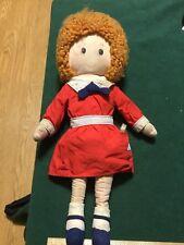 "Knickerbocker LITTLE ORPHAN ANNIE 16"" Cloth Doll Plush SANDY Vintage"