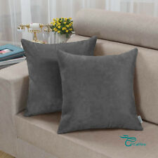 2PCS Square Pillows Cushion Covers Shell Heavy Faux Suede 45cmX45cm Grey
