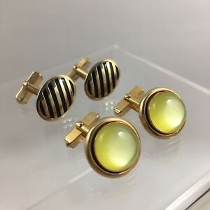Yellow Red Glass Cabochon Cufflinks Gold Tone Stripe Swank Lot of 2 Vintage G1