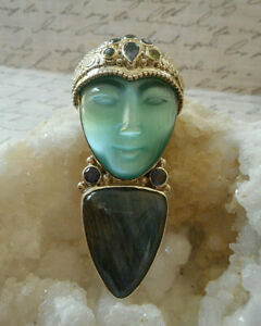Sterling Silver Sajen Labradorite Gemstone Goddess Face Brooch or Pendant  RE58N