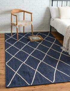 indian handmade jute rectangle in pure navy blue color with white dimond rugs