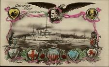 American Fleet Navy Battleships Admiral Sperry Tinted Real Photo Postcard