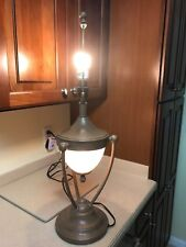 Vintage Frosted metal Glass Table Lamp with crackle finish 30.5 inches tall nice