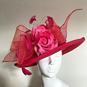 One Off Cerise Designer Millinery by Hat Couture Wedding Bridal Racing Hat