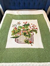 VIntage Crocheted blanket Throw Green Orange floral Granny Chic Farmhouse