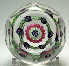 ANTIQUE CLICHY FACETED CONCENTRIC MILLEFIORI PAPERWEIGHT WITH 11 ROSES - 1845-60