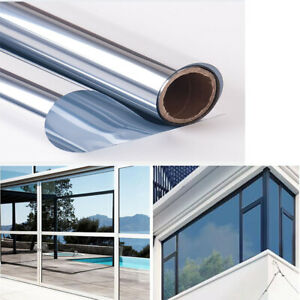 Silver&Silver Window Tint Film One Way Mirrored Privacy Heat Control Home House