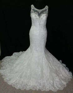 New Kenneth Winston 1587 Size 14 lace ivory bridal gown, beaded neckline