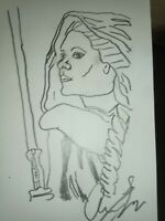 Princess Leia 4x6 Sketch By Actor Aaron Lee Johnson signed. Benefits charity.