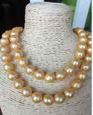 """gorgeous 13-14mm natural south sea gold baroque pearl necklace 38""""14k"""
