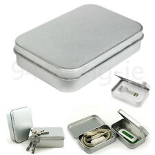 Small Metal Tin Silver Flip Storage Box Case Organizer For Coin Headset Keys