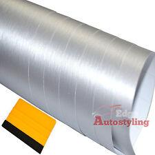 3m x 30cm Argento Spazzolato ALU in alluminio con texture VINILE WRAP AUTO + GRATIS seccatoio