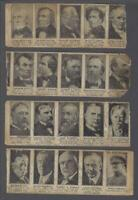1920's Anonymous Presidents Lot of 4 Strips of 5 Trading Cards