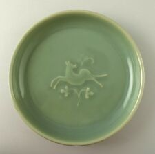 Royal Copenhagen stoneware bowl with celadon glaze and relief of leaping deer
