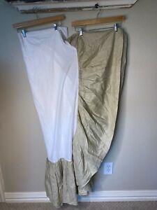 """Pottery Barn Queen Bedskirt Tan 100% Linen 15"""" Length Skirt Ruffled Classic"""