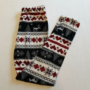Leggings One Size OS Cute Christmas Winter Holiday Reindeer Geometric Red Party