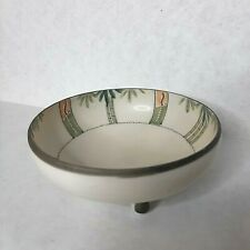 Vintage Hand Painted Bowl Bamboo Stripe Design 3 Rounded Feet Made in Japan