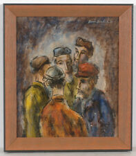 "Boris Deutsch (1892-1978) ""Shtetl news"", mixed media, 1966"