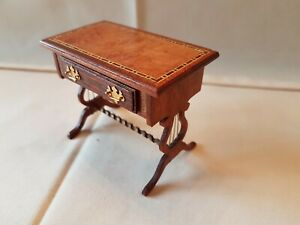 Dolls house artisan Brian Masters lyre end inlaid occasional table repair to leg