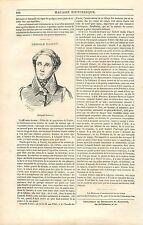 Portrait de Louis Léopold Robert Peintre Suisse GRAVURE ANTIQUE OLD PRINT 1835