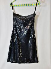 tempted hearts dress M black stretch  iridescent cocktail bling party NEW