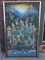Persian Indian Hindu Ceramonial folk art large silk painting progression Life