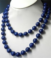 Natural 10mm Lapis Lazuli Round Beads Gemstone Handmade Necklace 36''