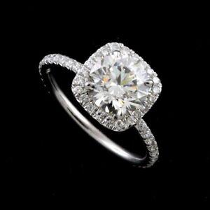 Diamonds Platinum 950 Cushion Halo Modern Engagement Ring Mounting