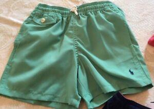 NWT Polo Ralph Lauren Boys Swim Trunks Suit Pony Logo Mesh Lined Green Size L