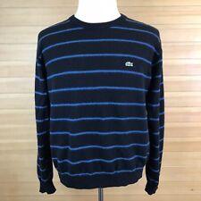 Lacoste Black Blue Striped Crew Neck 100% Wool Sweater Pullover Men's 7 US XXL