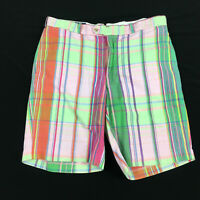 Polo Ralph Lauren Mens 34 35 Shorts Plaid Green Pink Orange Preppy Golf Casual