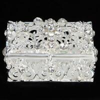 1Pc Exquisite Silver-plated Hollow Handicraft Jewelry Box Trinket Case Art Craft