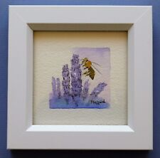 "Framed Original Miniature  Watercolour ""Busy Bee on Lavender Blossoms""."