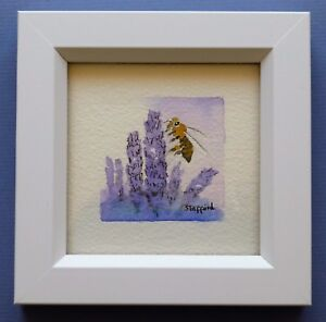 """Framed Original Miniature  Watercolour """"Busy Bee on Lavender Blossoms""""."""