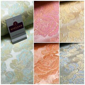 Floral Ferme Pastel Jacquard Indien Faux Soie Banarsi Brocart Tissu 150cm MA1239
