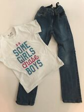 ARIZONA Girls Dark Wash Blue Jeans Size 10 Slim and Under Armor T Shirt YSM