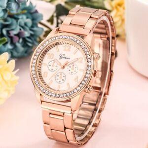 Geneva Women's Watch Female Quartz Wristwatch Deco Dial Alloy Bracelet Strap