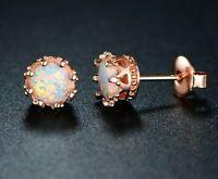 Fire Opal Crown Stud Earrings in 18K Rose Gold
