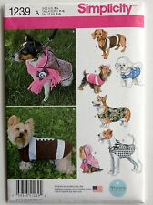 SEWING PATTERN S1239 DOG PET CLOTHES COATS 5 DESIGNS SIZE SMALL TO LARGE UNCUT