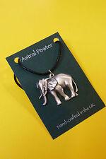 Colgante Collar Elefante Astral estaño de animales salvajes mano hecha a mano Reino Unido Acabado Nuevo