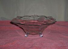 Vintage Depression Clear Glass Serving Bowl Toed Etched Flowers Fleur D'Lis Edge