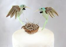 "Green Hummingbird Gay Wedding Cake Topper: Rustic ""Groom & Groom"" Love Birds"