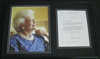 Barbara Bush Signed Framed 1996 Letter & Photo Display JSA