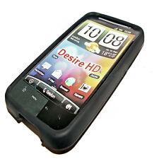 SILICONE TPU per cellulare Cover Case Guscio TAPPO VASCHETTA PER HTC DESIRE HD in Nero