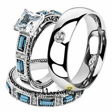 His & Her 3 Pc Stainless Steel 2.60 Ct Cz Bridal Set & Men Zirconia Wedding Band