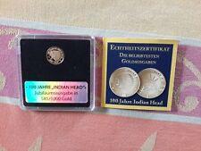 """Goldmünze - 100 Jahre """"Indian Head"""" Jubiläumsausgabe - 585/1000 Gold! UNZ"""