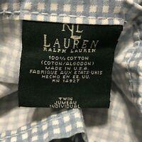 Vintage Ralph Lauren Blue Gingham Twin Flat Sheet USA Cotton