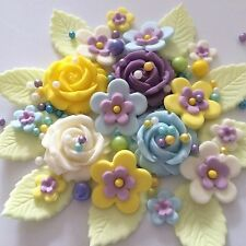 SWEET BLUE YELLOW Edible Sugar Paste Flowers Cake Decorations Cupcake Toppers
