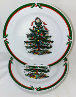 """8 Candleglow & Holly *PORCELAIN CHRISTMAS TREE* 7 1/2"""" SALAD PLATES*"""
